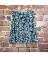 Christopher & Banks Womens Skirt Size 12 Petite Brown Blue Light Side Zip - $16.83