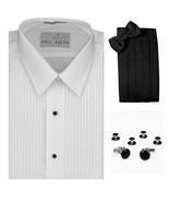 "Lay-Down Collar 1/4"" Pleats Tuxedo Shirt Cummerbund, Bow-Tie, Cuff Links... - £20.24 GBP"