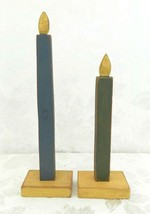 "Vintage Wood Christmas Candle Pair 12""/9.5"" Primitive Shaker Distressed - $17.81"