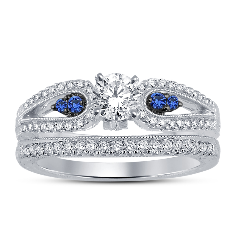 Womens Diamond Engagement Ring Set 14k White Gold Over 925 Sterling Solid Silver - $94.99
