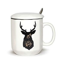 Ceramic Mug Cool Deer Design with Spoon and Lid Fine Porcelain Perfect f... - $13.47