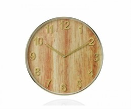 Wall Clock, Wood And Gold Glass Multicolor 30 Cm Watch Vintage Handmade - $158.58