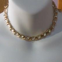 Vintage Trifari Gold-tone Rhinestone Choker Necklace - $95.00