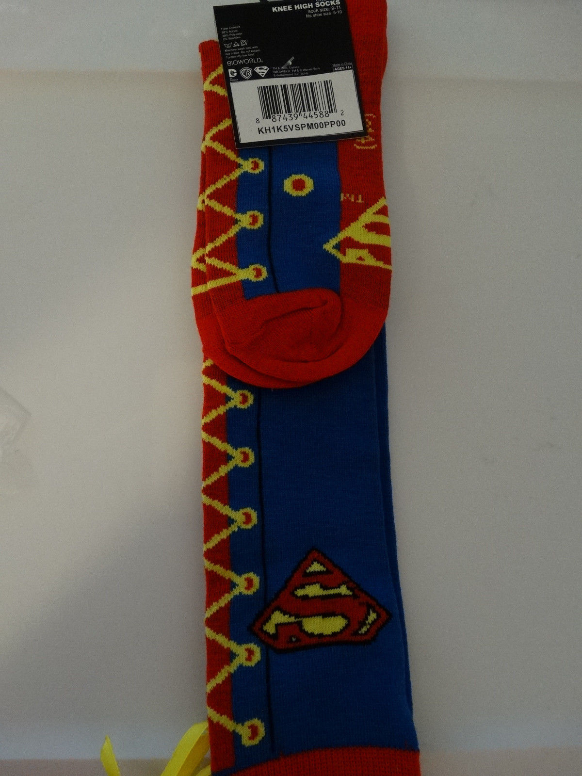 Superman Dc Comics Faux Lace Up Knee High Socks