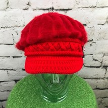 Womens One Sz Hat Red Lush Soft Gemmed Safety Pin Retro Newsboy Cabbie Cap - $30.93