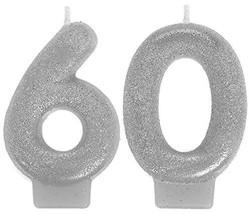 "Amscan 170289 Sparkling Celebration 60 Numeral Candles, 3"", Multicolor - $3.20"