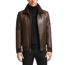 NWT Vince Camuto Men's Coat Shearling Trimmed Leather Brown Aviator Jacket - $229.99