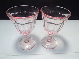 2 Heisey Pink Williamsburg Water / Wine Goblets - $9.95