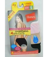 Hanes Women's Smoothing Hi-Cuts Underwear Panties 4 Pair Pack Size 5 - $18.95