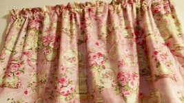 "Pink Teacup Curtain Panels Tiers Shabby Chic Window Treatment 43""W x 24""L  - $24.75"