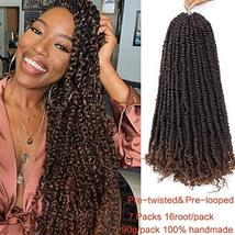 Ago 7 Packs Pre-Looped Passion Twist Hair For Braids 16 Root/Pack 18inch Long Wa
