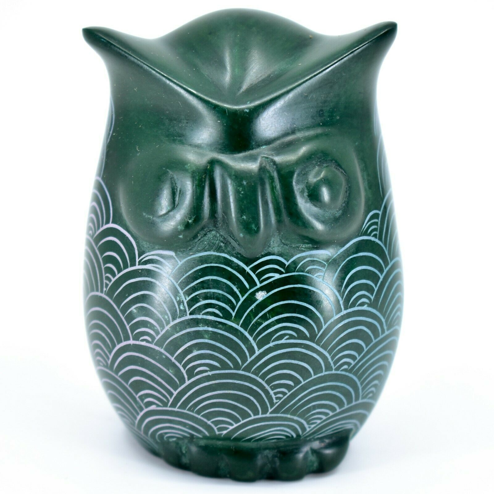 Tabaka Chigware Hand Carved Kisii Soapstone Green Owl Figurine Handmade in Kenya