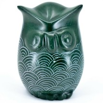 Tabaka Chigware Hand Carved Kisii Soapstone Green Owl Figurine Handmade in Kenya image 1