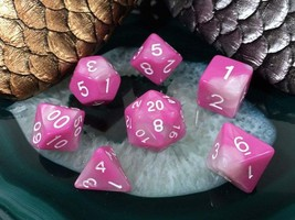 D&D Pink and White Acrylic Dice 7 Piece Set + Bag d20 d12 d10 d% d8 d6 d... - $5.95