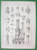 ARCHITECTURE PRINT : Italy France Chimney Tops Genoa Rome Chambord Castle - $21.60