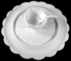 """Westmoreland Milk Glass Paneled Grape Pattern 12.25""""d Canape Serving Tra... - $169.99"""