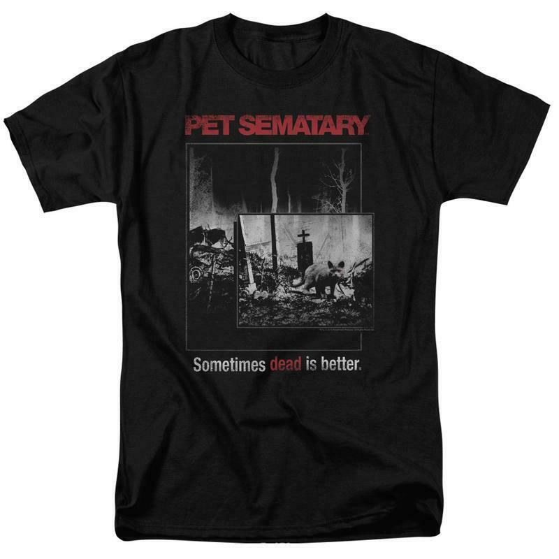 Stephen Kings Pet Sematary retro 80's horror movie black t-shirt PAR537