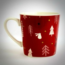 Starbucks Christmas Coffee Mug Red White Trees Bunny Bear Elves Rare HTF 2019 - $27.71