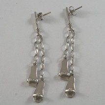 SOLID 18K WHITE GOLD EARRINGS, WITH SLIPPERS AND ZIRCONIA, LENGTH 2.52 INCHES image 2