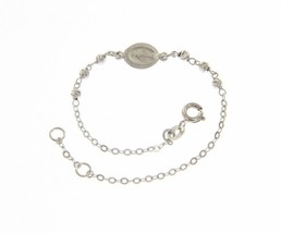 18K WHITE GOLD BRACELET FOR KIDS WITH MIRACULOUS MEDAL MADE IN ITALY 5.91 IN image 1