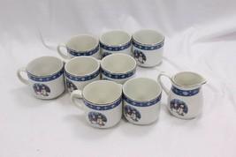Crofton Snowmen Xmas Cups and Creamer Set of 9 - $37.23