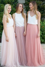 PINK High Waisted Full Length Tulle Skirt Pink Wedding Bridesmaid Tulle Skirt