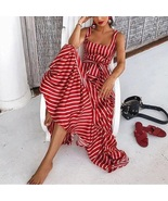 Red white striped ruffle long women A line dress stripes spring summer p... - $49.00
