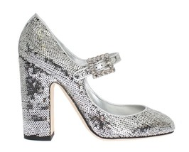 Dolce & Gabbana Women Silver Leather Sequined Mary Janes Shoes EU40/US9.5 - $216.79