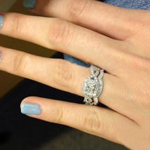 Princess Cut CZ Bridal Engagement Ring Set 14k White Gold Plated 925 Pure Silver - $96.54