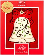 Lenox 2017 Joyous Tidings Bell Ornament Holiday Motif Red Bow New - $82.70