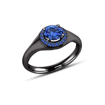 Round Cut Blue Sapphire 14k Black Gold Plated 925 Sterling Silver Wedding Ring - $79.60