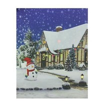 "Northlight LED Christmas Snowman Decorated Home Canvas Wall Art 19.75"" x 23.5"" - $27.22"