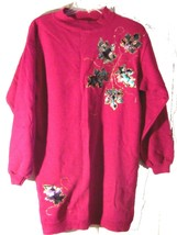 Sz S/M - Hanes Her Way Maroon Decorated Xtra Long Sweatshirt Top - $25.64