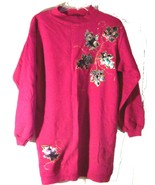 Sz S/M - Hanes Her Way Maroon Decorated Xtra Long Sweatshirt Top - $25.64