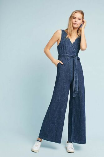 New Anthropologie Pilcro Lydia Jumpsuit $158 Size 6 Blue Speckled
