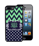 MONOGRAM CASE FOR iPHONE X 8 7 6 5 SE 5C PLUS RUBBER MINT NAVY CHEVRON DOTS - $13.98