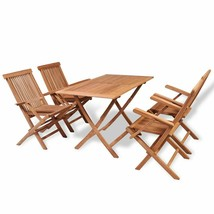 vidaXL Teak 5 pc Dining Rectangular Table 4 Folding Arm Chairs Outdoor G... - $293.99