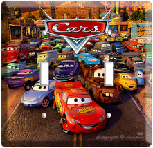 CARS 2 MCQUEEN SALLY MATER DISNEY MOVIE DOUBLE LIGHT SWITCH WALL PLATE C... - $11.99