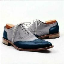 Gray Blue Tan Sole Brogues Toe Premium Leather Lace Up Men Oxford Shoes - $139.99+