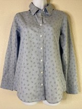 Orvis Women Size 6 Blue Micro Floral Shirt Long Sleeve Casual Outdoor - $15.84