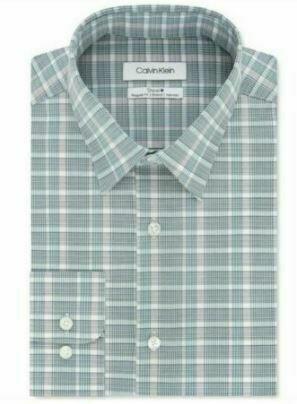 Calvin Klein Men's Green STEEL+ Regular Fit Stretch Non-Iron Check Dress Shirt