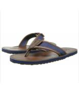 Polo Ralph Lauren Men's SULLIVAN FLIP FLOPS Leather BROWN NAVY Sandals New - $69.98