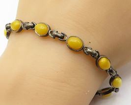 925 Sterling Silver - Vintage Cabochon Yellow Jade Oval Chain Bracelet - B4070 - $54.26