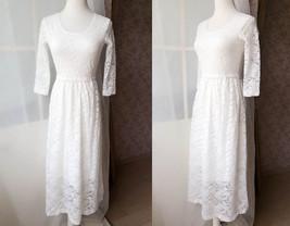 Ivory White Lace Boho Dress long Sleeve Lace Dress Easy Fitted Wedding Dress NWT image 2