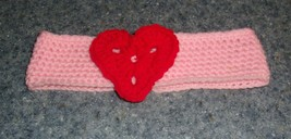 Brand New Crocheted Pink and Red Heart Dog Collar LARGE 4 Dog Rescue Cha... - $10.49