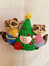 """1993 Hallmark Ornament """"Our 1st Christmas Together"""" Raccoons Decorating a Tree - $5.00"""