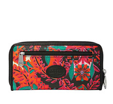 Fossil Floral KEYPER Zip Around Clutch Wallet Coin Purse Satchel Bag SL4... - $38.70