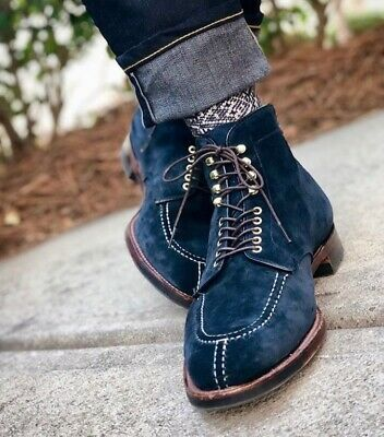 Handmade Men Navy Blue Suede High Ankle Dress/Formal Lace Up Boot