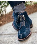 Handmade Men Navy Blue Suede High Ankle Dress/Formal Lace Up Boot - $149.99+