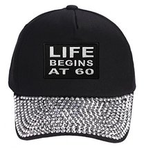 Life Begins At 60 Hat - Rhinestone Black Adjustable Womens - $17.05